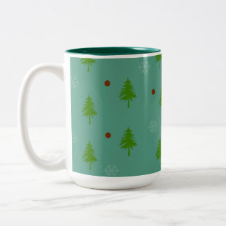 Caneca De Café Em Dois Tons Flocos de neve das árvores n