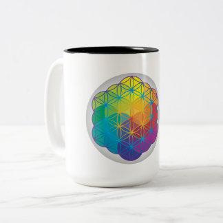 Caneca De Café Em Dois Tons Flor da geometria sagrado da mandala da energia da