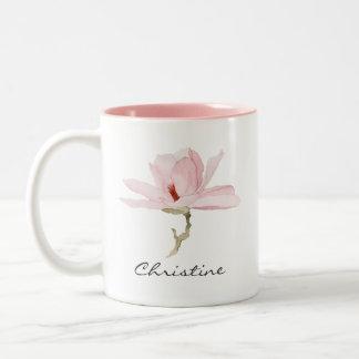 Caneca De Café Em Dois Tons Flor da magnólia da aguarela com seu nome
