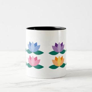 Caneca De Café Em Dois Tons Flor de Lotus