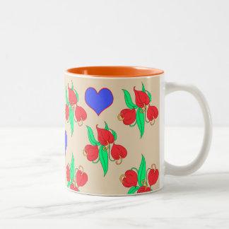Caneca De Café Em Dois Tons Flores e corações (o escolha possuem o fundo)