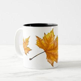 Caneca De Café Em Dois Tons Folha de bordo do outono
