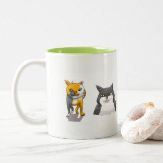Caneca De Café Em Dois Tons Formação do gato