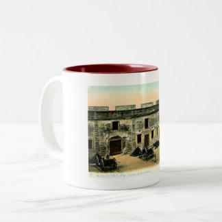Caneca De Café Em Dois Tons Forte Marion, vintage de St Augustine, Florida
