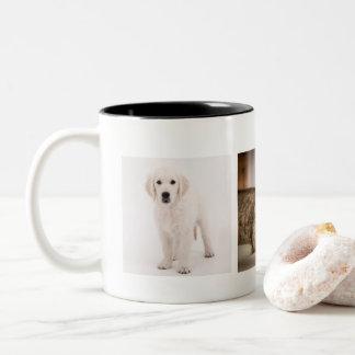 Caneca De Café Em Dois Tons Foto do animal de estimação personalizada