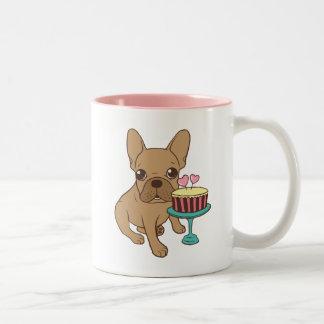 Caneca De Café Em Dois Tons Frenchie tem um aniversário