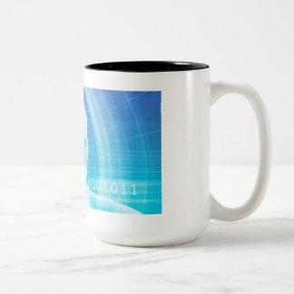Caneca De Café Em Dois Tons Fundo da molécula como um conceito do abstrato da
