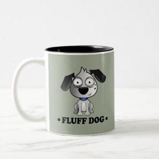 Caneca De Café Em Dois Tons Fundo do cinza do cão do fluff
