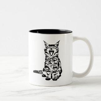 Caneca De Café Em Dois Tons Gatinho bonito da guinada