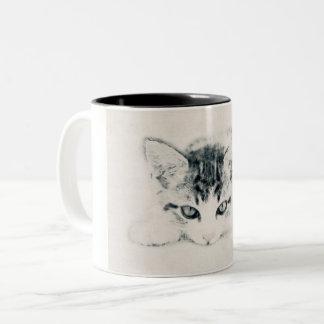 Caneca De Café Em Dois Tons Gato, animais - desenhos, ilustração