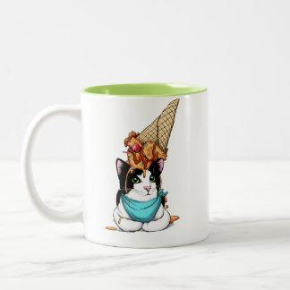 Caneca De Café Em Dois Tons Gato do sorvete