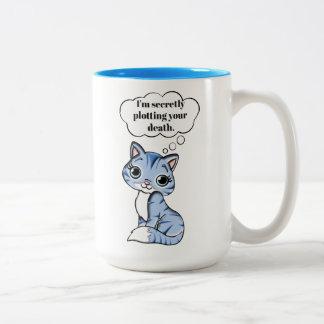 Caneca De Café Em Dois Tons Gato engraçado do gatinho que traça sua morte