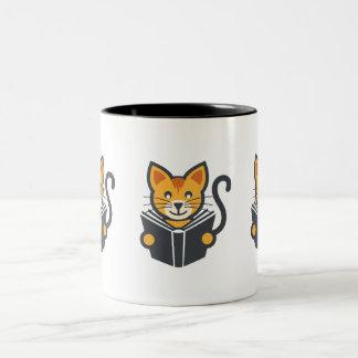 Caneca De Café Em Dois Tons Gato impressionante do leitor ávido - ideia do
