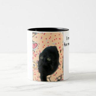 Caneca De Café Em Dois Tons gato pequeno