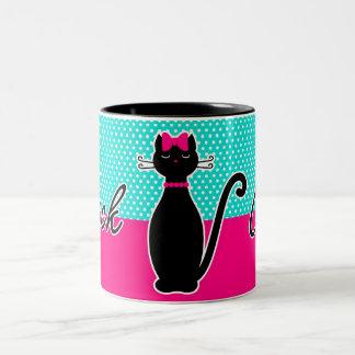 Caneca De Café Em Dois Tons Gato preto