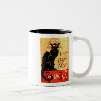 Caneca De Café Em Dois Tons Gato preto de Arte Nouveau Le Conversa Noir do