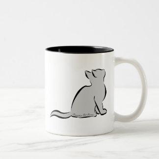 Caneca De Café Em Dois Tons Gato preto, suficiência cinzenta, palavras