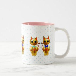 Caneca De Café Em Dois Tons Gatos bonitos do ouro