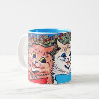 Caneca De Café Em Dois Tons Gatos do vintage que cantam o #holidayz das