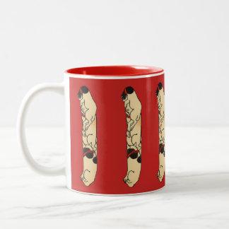 Caneca De Café Em Dois Tons Gatos japoneses de pólo de Totem do vintage