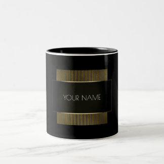 Caneca De Café Em Dois Tons Geometria mínima conceptual preta do ouro branco