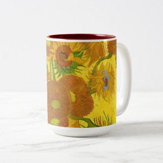 Caneca De Café Em Dois Tons Girassóis de Van Gogh quinze em umas belas artes