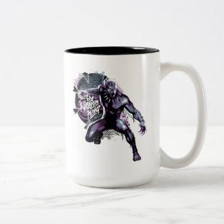 Caneca De Café Em Dois Tons Gráfico do guerreiro da pantera preta | do rei