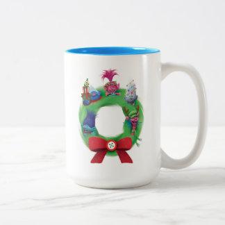 Caneca De Café Em Dois Tons Grinalda do Natal dos troll  