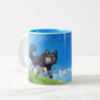 Caneca De Café Em Dois Tons Happy day mug - finlandês Lapphund