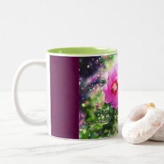 Caneca De Café Em Dois Tons Hibiscus Flower - Bokeh, Lights. Hibisco