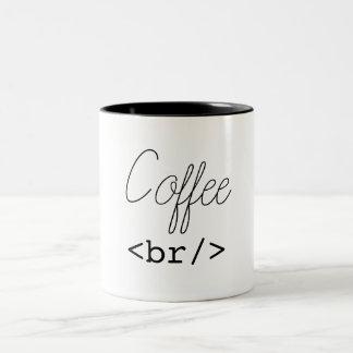 Caneca De Café Em Dois Tons HTML engraçado da ruptura de café