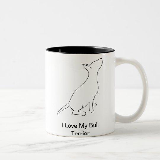 Caneca De Café Em Dois Tons I Love My Bull Terrier