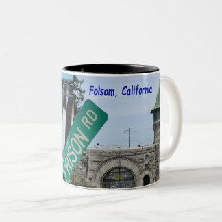 Caneca De Café Em Dois Tons Ícone de Folsom: Represa de Folsom e prisão 2