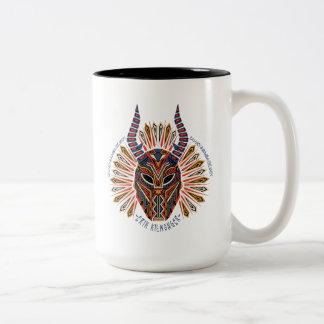 Caneca De Café Em Dois Tons Ícone tribal preto da máscara da pantera | Erik