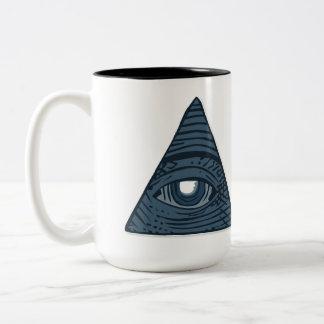 Caneca De Café Em Dois Tons Illuminati todo o símbolo de vista da pirâmide do