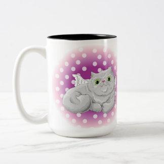 Caneca De Café Em Dois Tons Ilustração de um anjo bonito do gato