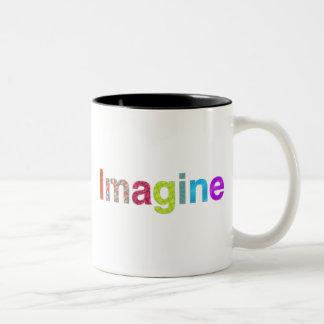 Caneca De Café Em Dois Tons Imagine o presente colorido da inspiração do