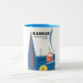 """Caneca De Café Em Dois Tons Kansas """"poster das viagens vintage do estado do"""