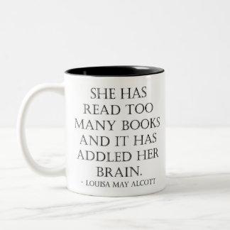 Caneca De Café Em Dois Tons leia livros demais