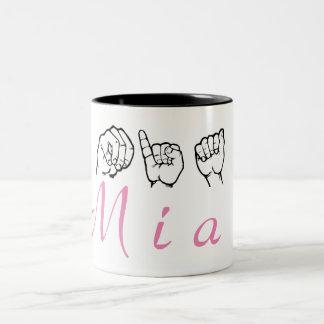 Caneca De Café Em Dois Tons Linguagem gestual americano Fingerspelled Mia do