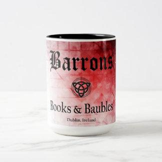 Caneca De Café Em Dois Tons Livros de Barrons e Baubles pretos/caneca vermelha