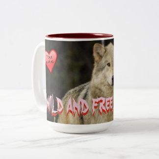 Caneca De Café Em Dois Tons Lobos - selvagens e livre como mim - excelente