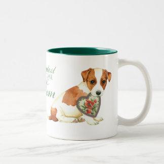 Caneca De Café Em Dois Tons Mamã do coração de Russell Terrier