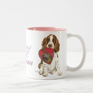 Caneca De Café Em Dois Tons Mamã do coração do Spaniel de Springer inglês