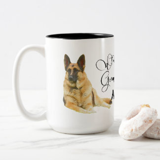 Caneca De Café Em Dois Tons Mamã do german shepherd do mundo a grande