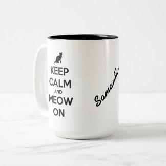Caneca De Café Em Dois Tons Mantenha a calma e o Meow no preto no branco