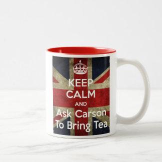 Caneca De Café Em Dois Tons Mantenha a calma e peça-a o chá
