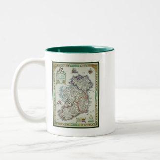 Caneca De Café Em Dois Tons Mapa de Ireland - mapa histórico de Eire Erin do