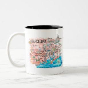 Caneca De Café Em Dois Tons Mapa de Viagem com Estradas Ilustrado em Barcelona