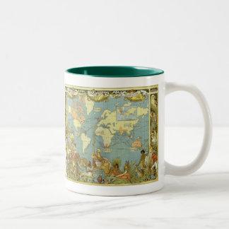 Caneca De Café Em Dois Tons Mapa do mundo antigo do Império Britânico, 1886